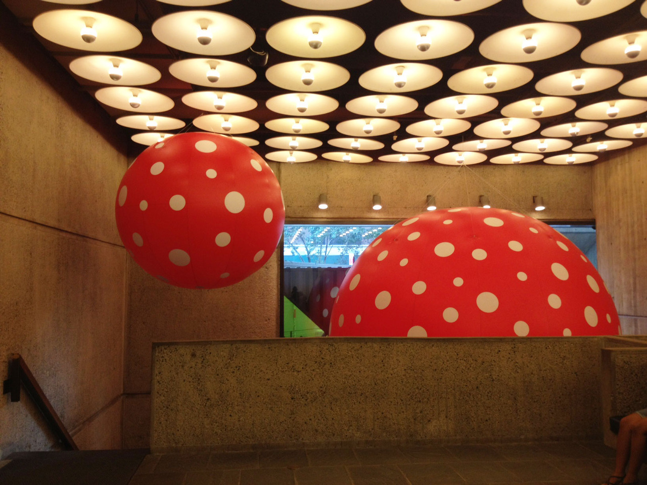 "whitneymuseum:  Yayoi Kusama sculptures in our lobby in advance of the opening of her retrospective this Thursday.   ""princess of polka dots"""