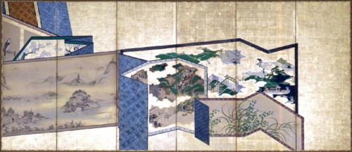 "A Japanese screen depicting a stack of Japanese screens (Edo period, 18th century, 5' 7"" x 12' 4 ¾"")."