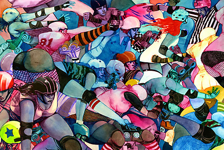 """Jammers, Blockers, and Pivots: The Influence of Modern Roller Derby in Art"" A 2008 exhibition hosted by the North Star Roller Girls. Click through for the article and some more art."