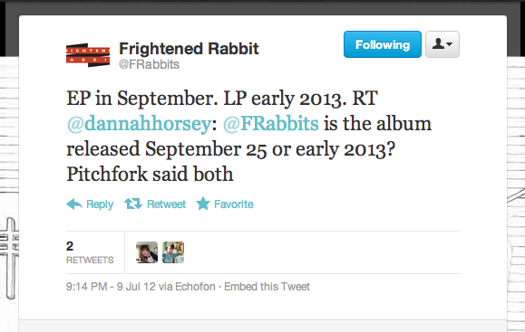 Cult Scottish rockers Frightened Rabbit confirm the release of their second EP in September of this year and their fourth studio LP sometime in 2013.