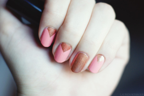 Lauren S. creates a pretty coral and copper chevron manicure!