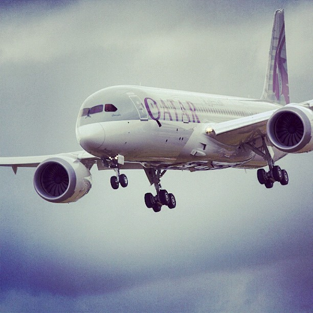 A GEnx-powered 787 took to the skies today at the Farnborough International Airshow in the UK. Shot by @adamsenatori. #FIA12 #GE #aviation #avgeek #engine #technology #qatarairways #boeing (Taken with Instagram)
