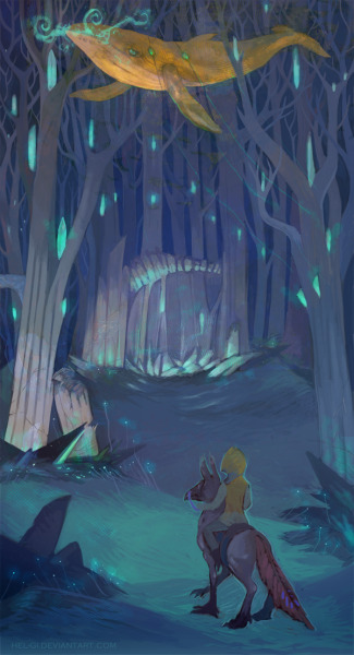 Forest whale by ~Hel-gi  Look at her Tumblr as well!