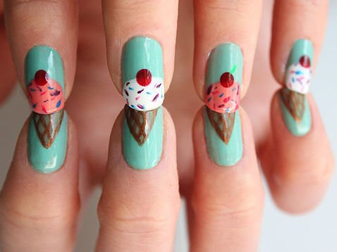truebluemeandyou:  DIY Ice Cream Cone with a Cherry on Top Nail Art Tutorial from Sly and Sam at Lulu's here.