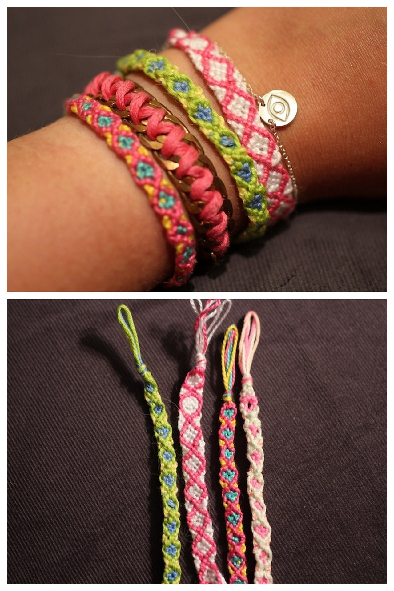 truebluemeandyou:  DIY Diamond Pattern Friendship Bracelet tutorial from stripes + sequins here - one of my favorite blogs right now. *For more friendship bracelets that I've posted go here: truebluemeandyou.tumblr.com/tagged/friendship  My goodness, did I ever enjoy making these back in junior high. I know I still have some floss around somewhere…just might have to make a bracelet or 2 this weekend.