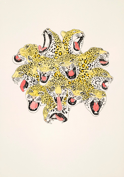 "2headedsnake:  moussakone.com Moussa Kone,""I am your leopard (hydra)"", 50 x 35 cm, ink / watercolor on paper, 2008"