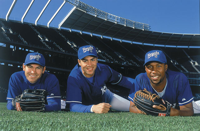 The future of the Royals — Johnny Damon, Carlos Beltran and Jermaine Dye — pose during a 2000 SI photo shoot in Kansas City. (Chuck Solomon/SI)