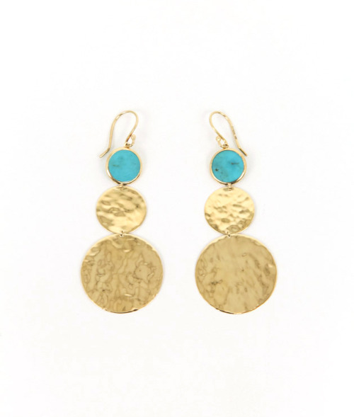 Ippolita 18K Gold Crinkle Double Disc Earrings available at Forty Five Ten.