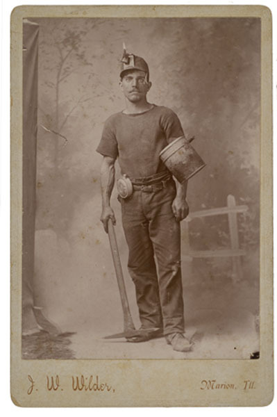 ca. 1870-80's, [cabinet card, occupational portrait of a miner with his equipment],  J.W. Wilder via Cowan's Auction