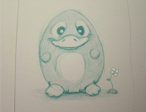 Was doodling the other day and drew a widdle penguin.