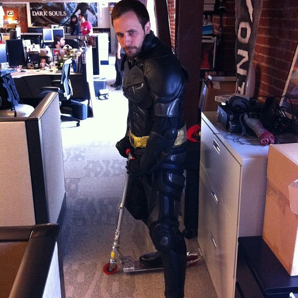Batman on a scooter. Only on IGN (and our Cheap, Cool, Crazy video series!) (Taken with Instagram)