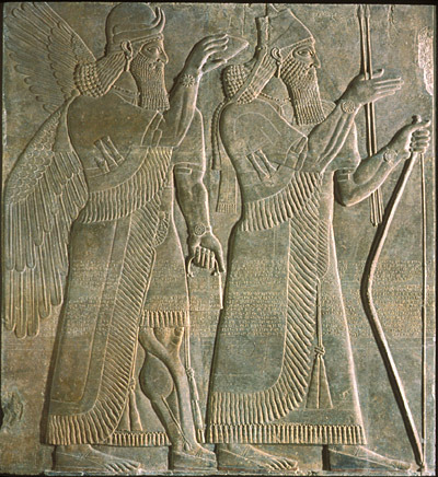 Near East, Iraq, Nimrud, Assyrian, reign of Ashurnasirpal II The King and GenieRelief from the Northwest Palace of Ashurnasirpal II at Nimrud883-859 BCEGypsum Hood Museum of Art