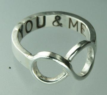 "wickedclothes:  ""YOU&ME"" Infinity Ring This cute ring is meant to symbolize endless love.  Sold on Zibbet."