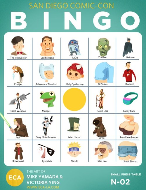 laughingsquid:  San Diego Comic-Con Bingo  WE TOTES CAN'T WAIT!