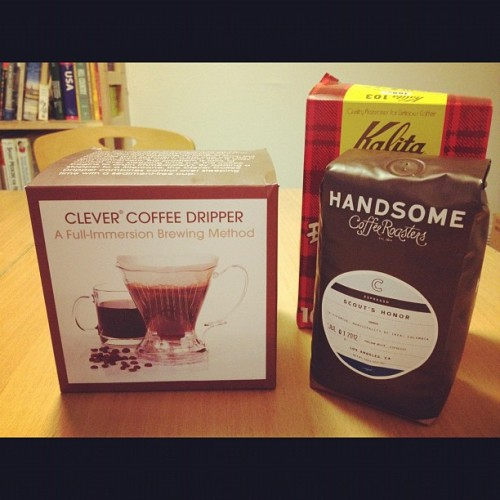 New goodies from last night…couldn't resist ~ #clever #HandsomeCoffee #ScoutsHonor #Kalita #AlwaysChasingThePerfectCup #coffee #CoffeeIsMyCrack  (Taken with Instagram)