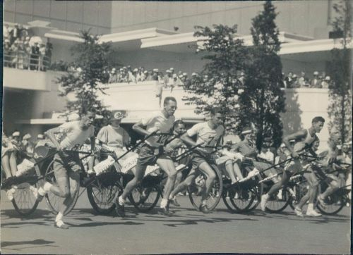 Rickshaw race at the Century of Progress World's Fair, 1934, Chicago.