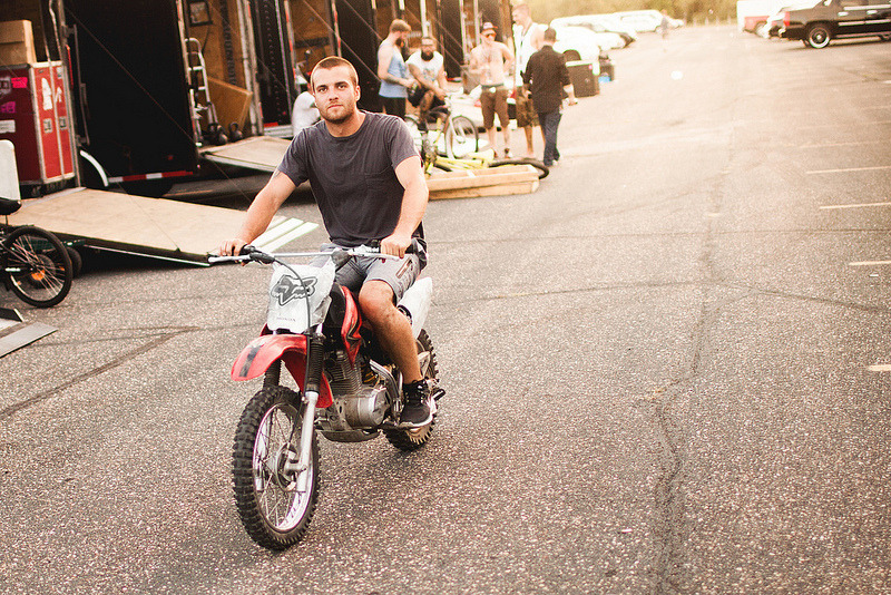 Rian of All Time Low on his dirtbike at Warped Tour 2012 in Shakopee, MN, by Matt Vogel