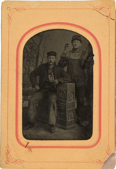 ca. 1860's-80's, [tintype occupational portrait of a pair of mechanics holding wrenches] via Cowan's Auctions