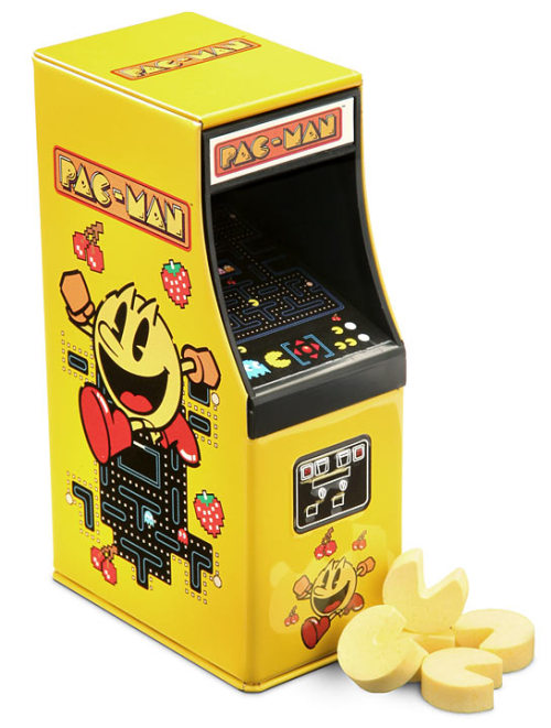 otlgaming:  WOCKA WOCKA YUMMY YUMMY Thinkgeek has some delicious Pac-Man candy served up in a retro arcade cabinet tin for $3.49.  Once you've emptied the strawberry flavored Pac-Man candies you can store your quarters for a trip to the real arcade in the tin.   Continue? Live Action Pac-Man || Everyone as Pac-Man Ghosts  Kawaiiiiiiii