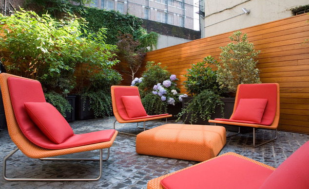 Rooftop terrace for a Greenwich Village townhouse in New York City. Designed by New York firm, Axis Mundi.