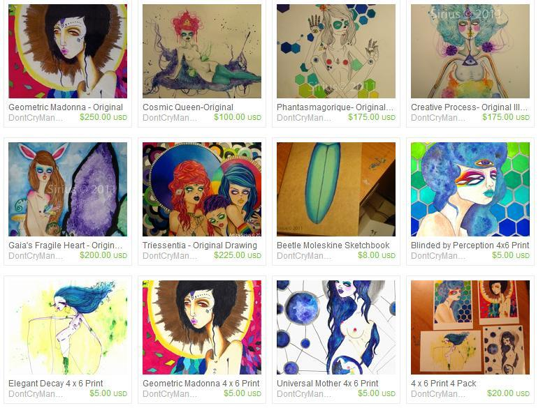 Hey ya'll! I just wanted to remind you I have and Etsy with prints and some original artwork for sale! My 4X6 prints are all 5 dollars! If there's any of my pieces you like, but don't see in my shop you can contact me, and I can either make up some prints or discuss cost for the original. I also have two mini guitars ready for painting, if you'd like to commission me for something like the ukulele  I painted for cosmicforestpeople. I also painted this guitar. xoxox Sirius