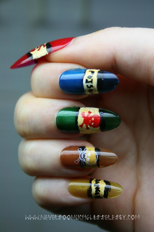 Nails inspired by antique poison bottles.