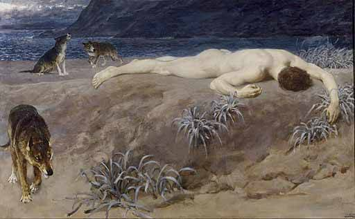 blastedheath:   Briton Riviere (English, 1840-1920), Hector Lying Dead, 1892. Oil on canvas. Manchester Art Gallery.