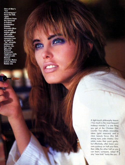 "Self US September 1985 ""The Best Beauty Deals Around-Free"" Model: Renée Simonsen ph: Roger Eaton"