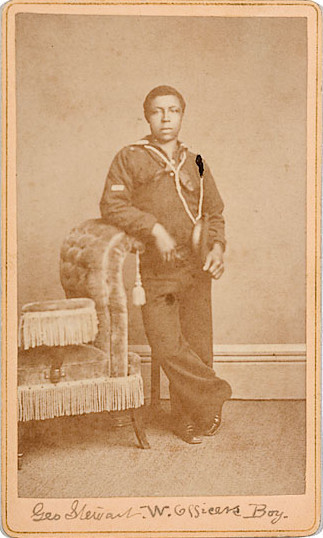 "tuesday-johnson:  ca. 1876, ""Geo. Stewart W. Officers Boy"", [carte de visite portrait of a sailor], Solano Photographic Art Studio  On verso ""'Pensacola' April 25, 1876""..The Pensacola was launched in 1859, commissioned in September 1861. She joined Farragut's Gulf blockading squadron and was engaged in the battle for New Orleans. She remained in the lower Mississippi for most of war, returning to New York for refitting in spring 1864. After two years she headed around Cape Horn to join the Pacific Squadron, where she was when this image was taken. She was in service, with periods of upgrading, until 1912, when she was sunk by the Navy in San Francisco Bay.  via Cowan's Auctions"