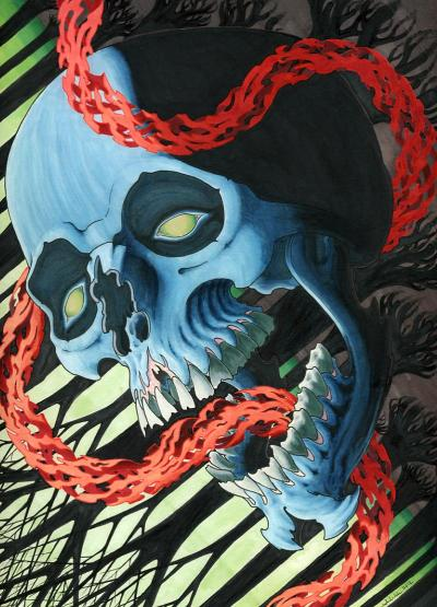 "astral blood 9"" x 12"" prismacolor markers   2012"