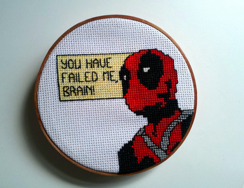 pixystitches:  Deadpool! on Flickr. He's done, and living on my desk… because, yanno… appropriate! His wee yellow box is just backstitched, because why would I bother checking my supplies before starting? Pfffffft! Did I mention how appropriate this is, staring at me while I work?