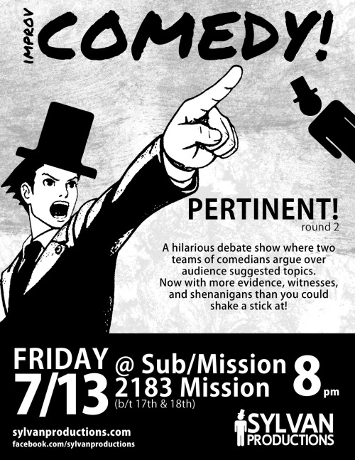 "7/13. PERTINENT! (Improv Game Show) @ Sub/Mission. 2183 Mission. SF. 8pm. $5-10. Featuring Spencer Devine/David Gborie and OJ Patterson/Clare O'Kane with Dan Allenderwest and Amy Miller. Hosted by Justin Gomes. Presented by Sylvan Productions.  Based on the wildly successful game/sketch ""Parliamentary Debate"" (a la Open Improv fame), Pertinent! Is a hilarious debate show where two teams of specialists, each experts in their individual fields of study and work (aka comedians), debate today's most pressing and pertinent issues (audience suggestions).  Hosted and Adjudicated by: Justin Gomes  This weeks featured teams: David Gborie and Spencer Devine vs. Clare O'Kane and OJ Patterson  Special Guest Comedians: Dan Allenderwest Amy Miller"
