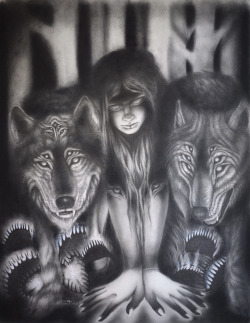 Raised By Wolves; Graphite on paper