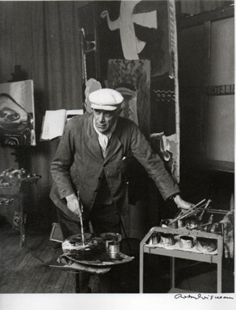 George Braque in his studio, photo by Robert Doisneau