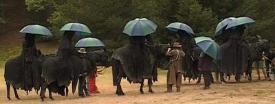kwakerjak:  Ringwraiths with umbrellas. From The Fellowship of the Ring: Behind the Scenes