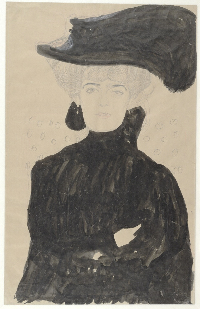 Lady with a Feathered Hat, 1908, Gustav Klimt. Albertina, Vienna Gustav Klimt: The Magic of Line