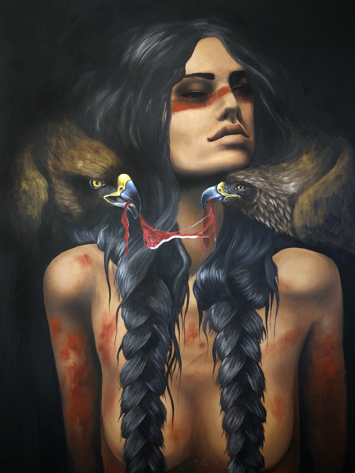 iamthunderbeast:  Running Eagle; oil on oak panel. Running Eagle/Woman Spirit/Pitamakan was a Piegan Blackfoot who became known as a mighty warrior amongst her people. Honing her skills and reputation through buffalo hunts and other traditionally masculine endeavors, she became a member of the Braves Society and led many war parties. One buffalo hunt was interrupted by a rival tribe, and her father's horse was shot out from under him. Running Eagle galloped to him, and under heavy fire loaded both him and her hard earned buffalo meat onto her horse, and escaped back to her village. Trick Falls in Glacier National park was originally named Pitamakan Falls in her honor.