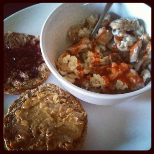 CLEAN BREAKFAST: 1 sprouted grain English muffin with 1 TBSP all natural crunchy PB and 1 TBSP of blueberry jam with a mushroom, extra lean ground turkey egg white scramble + Frank's. BLACK COFFEE UPDATE: For roughly the last two weeks before my show I did not have dairy which meant I had to drink my coffee black. During the time it was doable but now that my dairy is back in my diet I still prefer to drink my coffee with 1/4 cup skim milk. But to be fair, only drinking my coffee black was two weeks was not a fair go, four weeks would be more sufficient. I might still give it a try and go black for a month and see if it sticks and if it does I will use that serving of dairy somewhere else in my diet like having a larger portion of Greek yogurt for example. Even if I go black I will never give up my non-fat Americano Mistos. It took me a very long time to get used to green tea and if I can used to drinking that (which I don't go a day without) then I can get used to drinking my coffee black. To be continued!