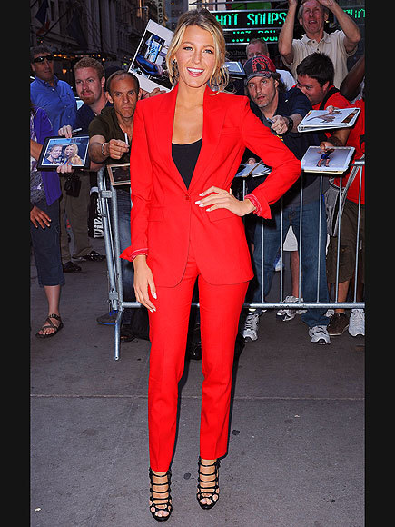 Suit up in all red like Blake Lively!