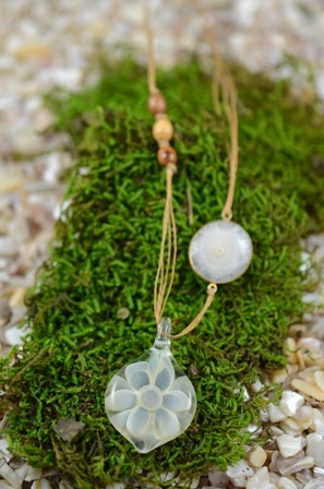 Fine Silver Encased Pendant, Petal Design. Pure Collection Solar Quartz and Olive Wood Beads : Waxed Linen Cord