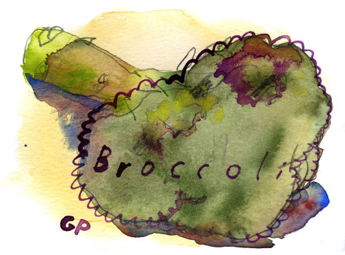 Finished broccoli picture. This one is going out in the mail to a lovely girl who traded some art with me.