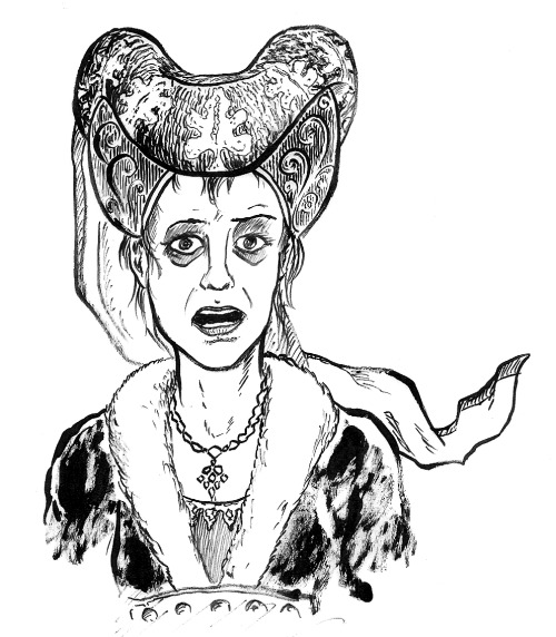 The lady Hallewes from Sir Thomas Malory's Le Morte Darthur. (She's the creepy sorceress who decides that if Lancelot won't love her while he's alive, she'll be happy to embalm his corpse and hug & kiss his mummy every day. He escapes and she dies of grief, as so often happens with him.) Drawing by Mike Wenthe