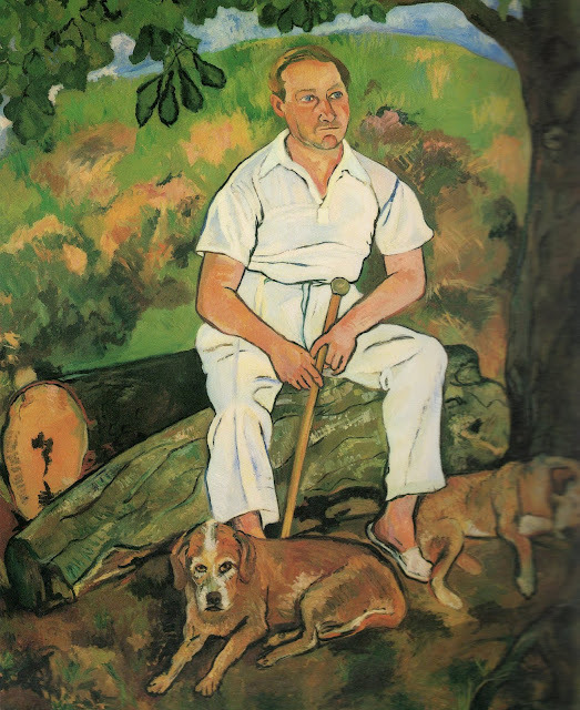 chasingtailfeathers:  Suzanne Valadon - Andre Utter and His Dogs, oil on canvas, 1932