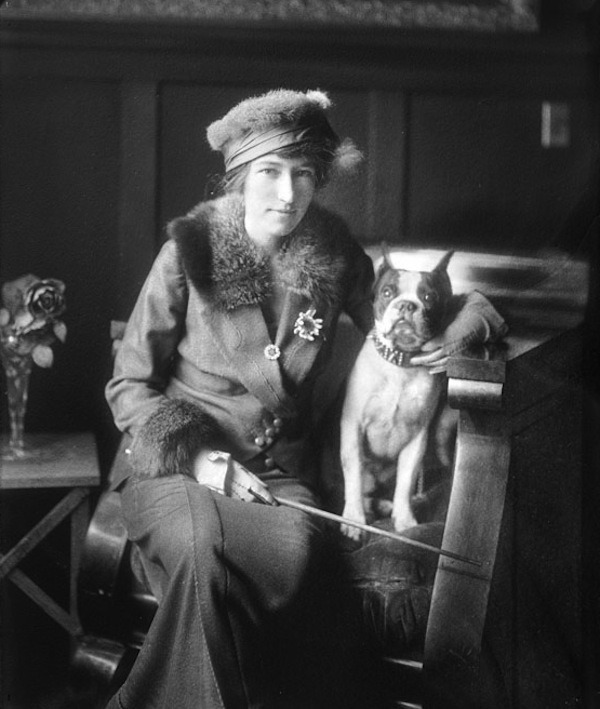 Miss Halloran and her dog, 1915 (Harry Shipler)