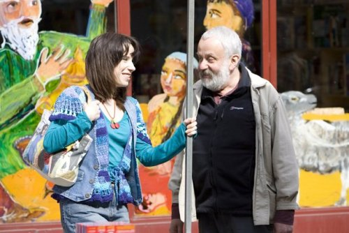 "Director Mike Leigh with actor Sally Hawkins on the set of the 2008 film ""Happy-Go-Lucky"". Click the pic to watch a scene from the movie."