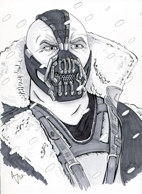 "The villain Bane, from The Dark Knight Rises. Getting pretty excited to see this one. This might be the first of a week of Batman villain sketches.  Microns, brush pen and neutral Copic gray marker on 9x12"" bristol. This piece is for sale"