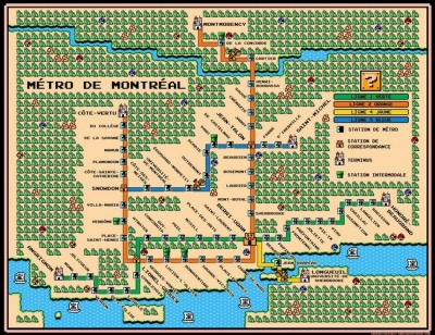 Montreal's métro as a Super Mario map! (by Dave Delisle)