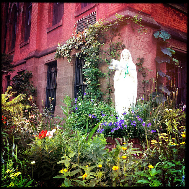 mary in the garden. upper east side. on Flickr.Virgin Mary statue in a garden. St. Vincent Ferrer Church on the Upper East Side.