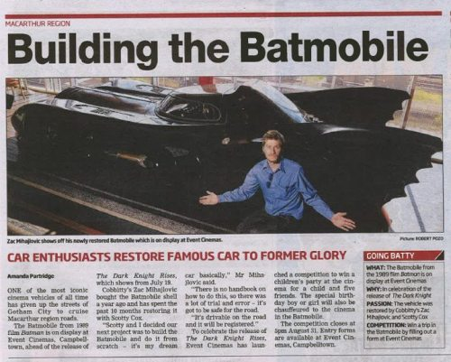 Here we go, the whole story captured in the local paper :) Zac and Scotty have actually made a facebook page, specifically for the hire of the Batmobile. Check it out here!