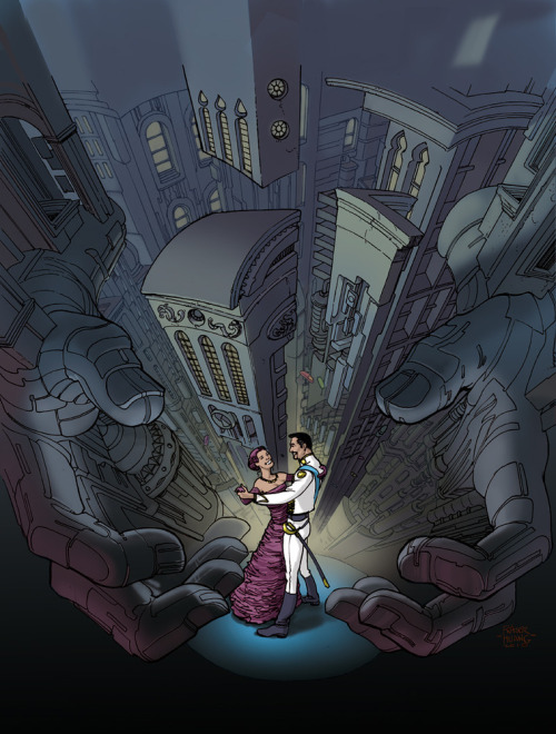"stomm2000ad:  Romantic cover(Prog1679,7Apr'10)from Nikolai Dante creator,Simon Fraser.Tsar Vladimir the Conqueror is finally overthrown,can Nikolai Dante and Jena Makarov be together at last? ""Heroes be Damned"";script:Robbie Morrison;art:Simon Fraser.(Book X,""Hero of the Revolution"")"